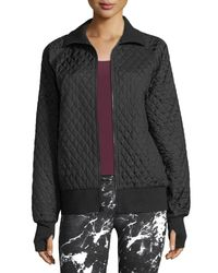 Norma Kamali - Black Zip-front Quilted Bomber Jacket - Lyst