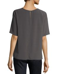 Eileen Fisher | Gray Half-sleeve Crinkle Crepe Top | Lyst