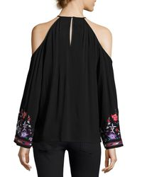 Parker - Black Adelise Embroidered Cold-shoulder Blouse - Lyst