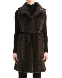 Gorski - Blue Mink Fur Vest With Suede Belt - Lyst