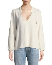 Ba&sh - White Corian Split-neck Long-sleeve Blouse - Lyst