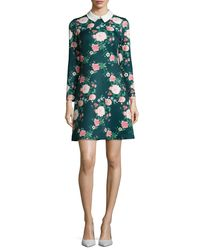 Erin Fetherston - Green Mila Collared Floral-print Cocktail Dress - Lyst