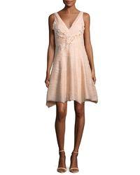 Marchesa notte - Red Sleeveless V-neck Crinkled Chiffon Cocktail Dress - Lyst