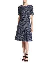 Oscar de la Renta - Blue Short-sleeve Floral Jacquard Dress - Lyst