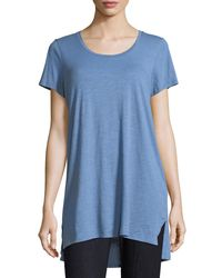 Eileen Fisher Blue Slubby Organic Cotton Jersey Tee