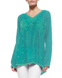 Johnny Was - Blue Vine Embroidered Georgette Tunic - Lyst