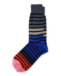 Paul Smith - Gray Fialor Striped Colorblock Socks for Men - Lyst