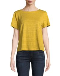 Eileen Fisher - Yellow Short-sleeve Mini-stripe Linen Jersey Tee - Lyst