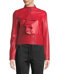 Valentino - Red Agnello Leather Jacket W/ Large Ruffle - Lyst