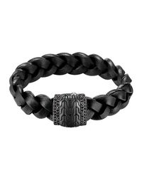 John Hardy - Men's Black Bronze Braided Leather Bracelet for Men - Lyst