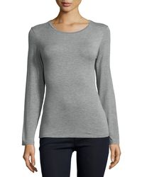 Neiman Marcus | Gray Soft Touch Crewneck Top | Lyst
