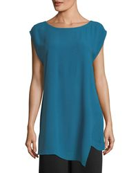 Eileen Fisher - Blue Bateau-neck Silk Georgette Crepe Tunic - Lyst