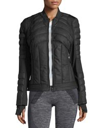 BLANC NOIR - Black Quilted Bomber Jacket With Mesh-inset - Lyst