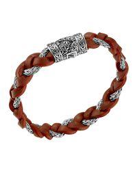 John Hardy   Red Men's Chain-woven Braided Leather Bracelet for Men   Lyst