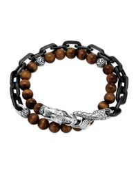 John Hardy | Brown Naga Tigers Eye Stainless Steel Doublewrap Link Bracelet for Men | Lyst