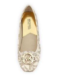Michael Kors | White Fulton Logo Moccasin Ballet Flats | Lyst