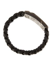 John Hardy - Black Men's Classic Chain Station Bracelet With Leather Strap for Men - Lyst