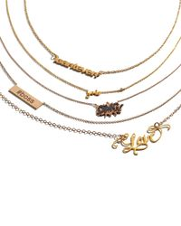 Shy By Sydney Evan | Metallic Gold Yolo Pendant Bezel Diamond Necklace | Lyst