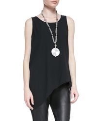 Eileen Fisher | Black Silk Asymmetric Draped Shell | Lyst