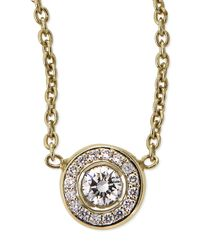 Roberto Coin | 18k Yellow Gold Pave Diamond Pendant Necklace | Lyst