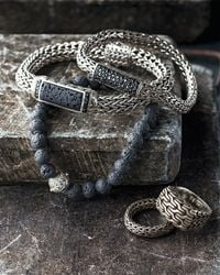John Hardy - Metallic Men's Classic Chain Black Volcanic And Black Sapphire Bracelet - Lyst