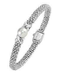 Lagos - Metallic Sterling Silver Luna Button Pearl Diamond X Rope Bracelet - Lyst