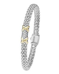 Lagos | Metallic Silver & 18k Gold Diamond Lux Small Bracelet | Lyst