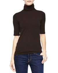 Neiman Marcus | Brown Soft Touch Half-sleeve Turtleneck | Lyst