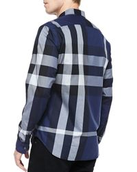 Burberry Brit - Blue Fred Exploded Check Button-Down Cotton Shirt for Men - Lyst