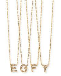 Roberto Coin | Metallic 18k Yellow Gold Diamond Love Letter Necklace | Lyst