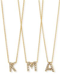 Roberto Coin | Metallic 18k Yellow Gold Diamond Love Letter Necklace | Lyst