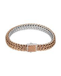 John Hardy | Metallic Bronze/silver Reversible Woven Chain Bracelet | Lyst