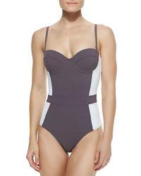 Tory Burch | Blue Lipsi Colorblock One-piece Swimsuit | Lyst
