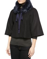 Elie Tahari | Black Nadja Faux-fur Swing Coat | Lyst