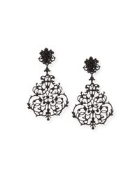 Jose & Maria Barrera - Black Lace Scroll Chandelier Earrings - Lyst