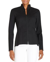 Lafayette 148 New York | White Kerry Zip-front Blouse W/ Stand Collar | Lyst