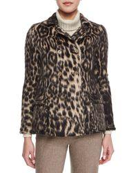 Carolina Herrera - Brown Leopard Jacquard Pea Coat - Lyst