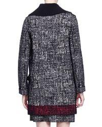 Lanvin - Black Faux-fur-trimmed Contrast-bordered Tweed Coat - Lyst