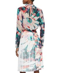 Nicole Miller - Multicolor Long-sleeve Floral-print Blouse - Lyst