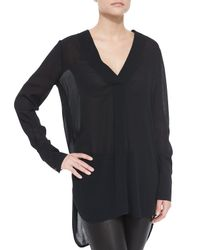Vince | Black Long-sleeve V-neck Sheer Top | Lyst
