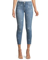 Joe's Jeans - Blue The Icon Cropped Embroidered Skinny Jeans - Lyst