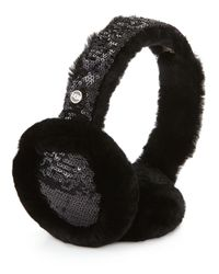 UGG | Black Two-tone Sequin Shearling Fur Headphone Wired Earmuffs | Lyst