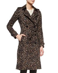 Burberry - Multicolor Leopard-print Mid-length Trenchcoat - Lyst