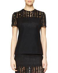 Jason Wu - Black Cashmere-blend Lace-yoked T-shirt - Lyst