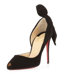 Christian Louboutin | Black Barbara Half-d'orsay Knot-heel Red Sole Pump | Lyst