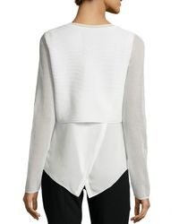 Tahari - White Juliana Sleeveless Placket Top - Lyst