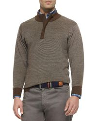 Peter Millar - Black Textured Quarter-zip Pullover Sweater for Men - Lyst