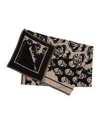 Alexander McQueen Black Roses & Skull Knit Blanket