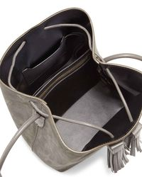 Tom Ford Gray Suede Double-tassel Medium Bucket Bag