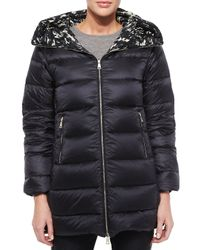 Moncler - Black Colliers Reversible Solid/printed Puffer Coat - Lyst